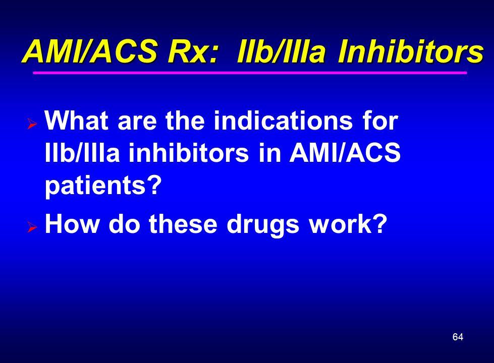 64 AMI/ACS Rx: IIb/IIIa Inhibitors AMI/ACS Rx: IIb/IIIa Inhibitors  What are the indications for IIb/IIIa inhibitors in AMI/ACS patients?  How do th