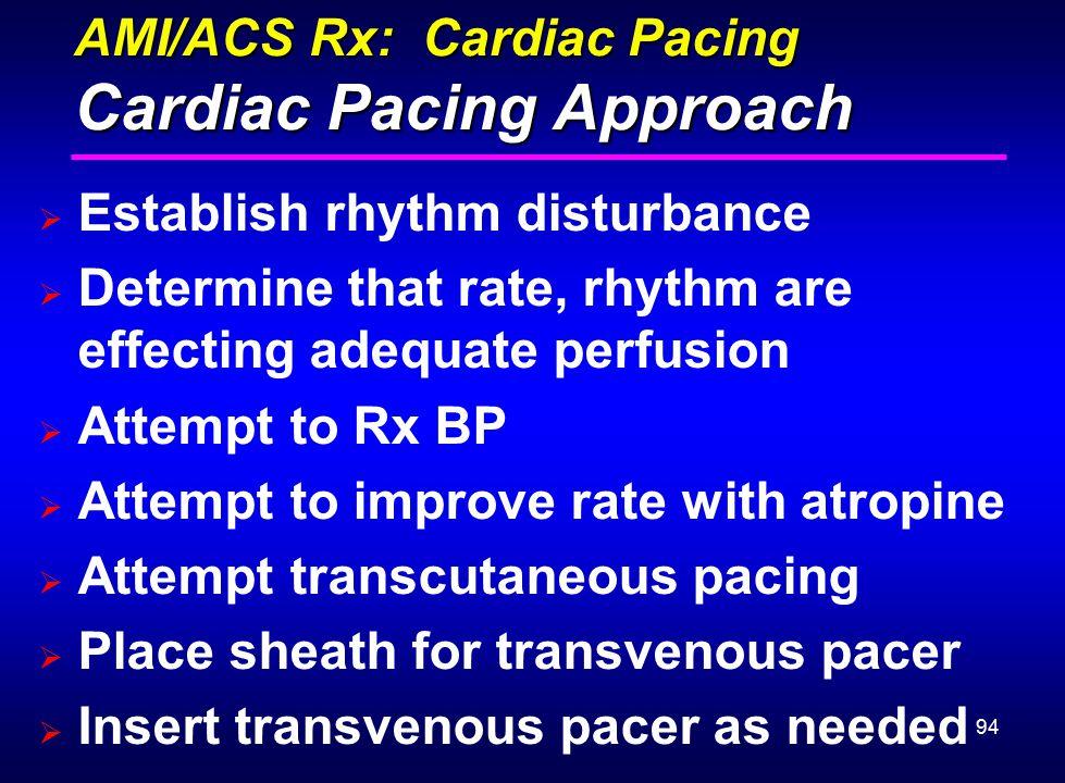 94 AMI/ACS Rx: Cardiac Pacing Cardiac Pacing Approach  Establish rhythm disturbance  Determine that rate, rhythm are effecting adequate perfusion 