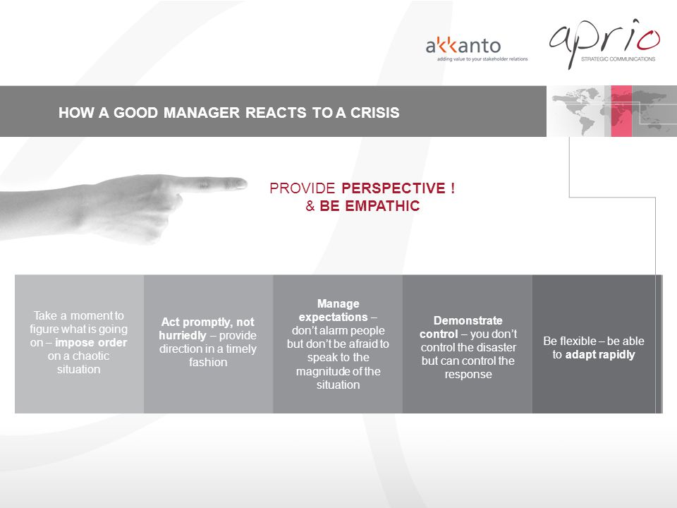 HOW A GOOD MANAGER REACTS TO A CRISIS PROVIDE PERSPECTIVE ! & BE EMPATHIC Take a moment to figure what is going on – impose order on a chaotic situati