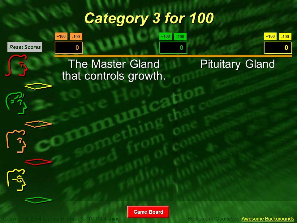 Copyright © 2004 Glenna R. Shaw & FTC Publishing Background Courtesy of Awesome BackgroundsAwesome Backgrounds Game Board Game Board +100 -100 0 +100