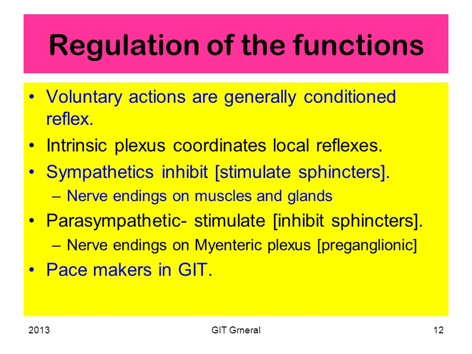 2013GIT Grneral12 Regulation of the functions Voluntary actions are generally conditioned reflex.