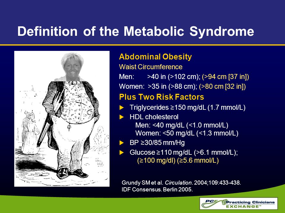 Definition of the Metabolic Syndrome Abdominal Obesity Waist Circumference Men: >40 in (>102 cm); (>94 cm [37 in]) Women: >35 in (>88 cm); (>80 cm [32