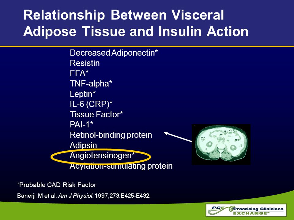 Decreased Adiponectin* Resistin FFA* TNF-alpha* Leptin* IL-6 (CRP)* Tissue Factor* PAI-1* Retinol-binding protein Adipsin Angiotensinogen* Acylation-s