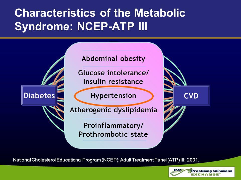 Characteristics of the Metabolic Syndrome: NCEP-ATP III National Cholesterol Educational Program (NCEP); Adult Treatment Panel (ATP) III; 2001. Abdomi