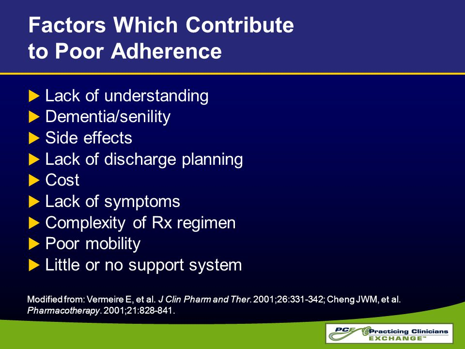 Factors Which Contribute to Poor Adherence  Lack of understanding  Dementia/senility  Side effects  Lack of discharge planning  Cost  Lack of sy