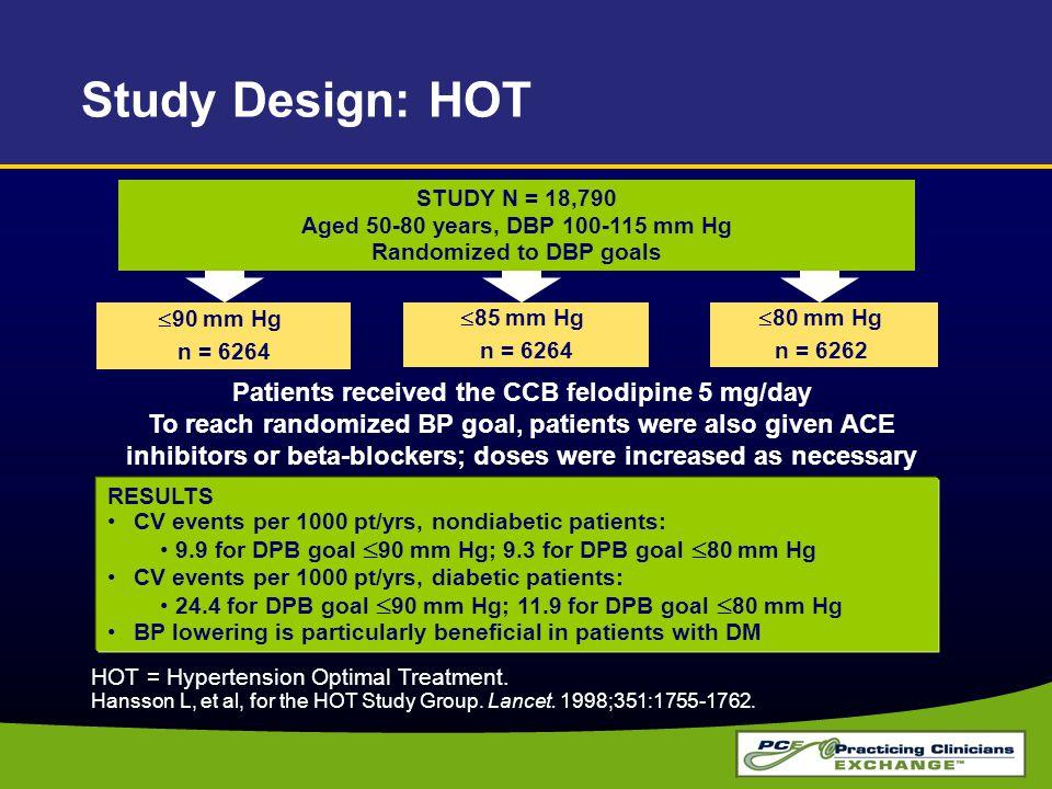 RESULTS CV events per 1000 pt/yrs, nondiabetic patients: 9.9 for DPB goal  90 mm Hg; 9.3 for DPB goal  80 mm Hg CV events per 1000 pt/yrs, diabetic