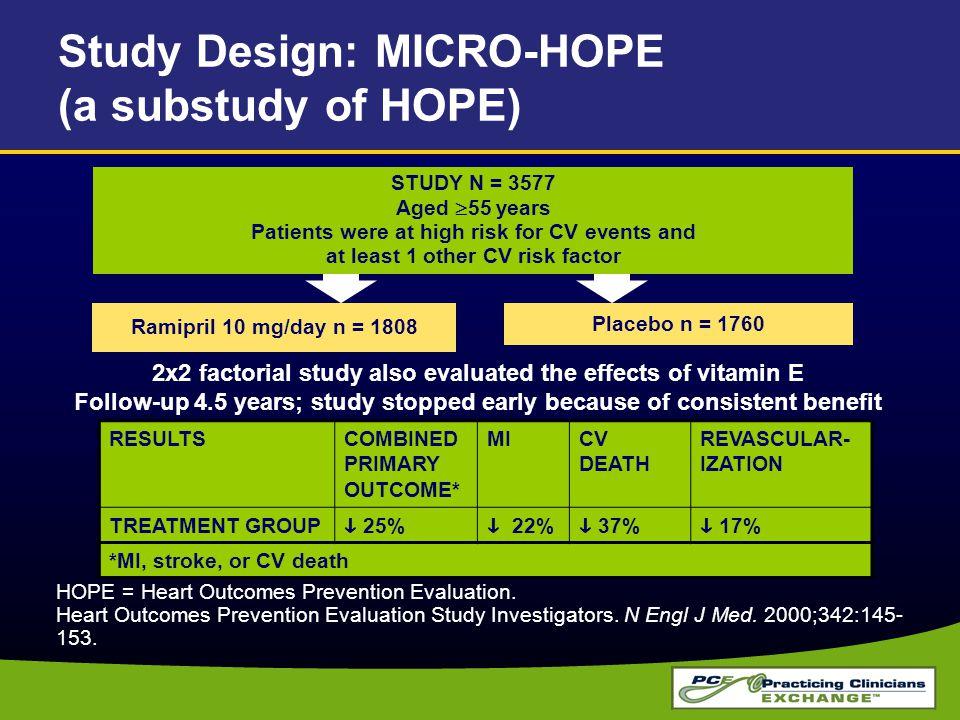 HOPE = Heart Outcomes Prevention Evaluation. Heart Outcomes Prevention Evaluation Study Investigators. N Engl J Med. 2000;342:145- 153. Study Design: