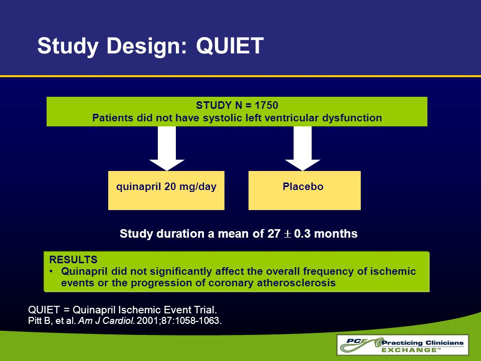RESULTS Quinapril did not significantly affect the overall frequency of ischemic events or the progression of coronary atherosclerosis QUIET = Quinapr