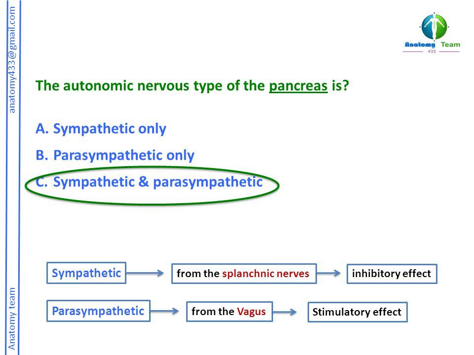 Anatomy team anatomy433@gmail.com The autonomic nervous type of the pancreas is.
