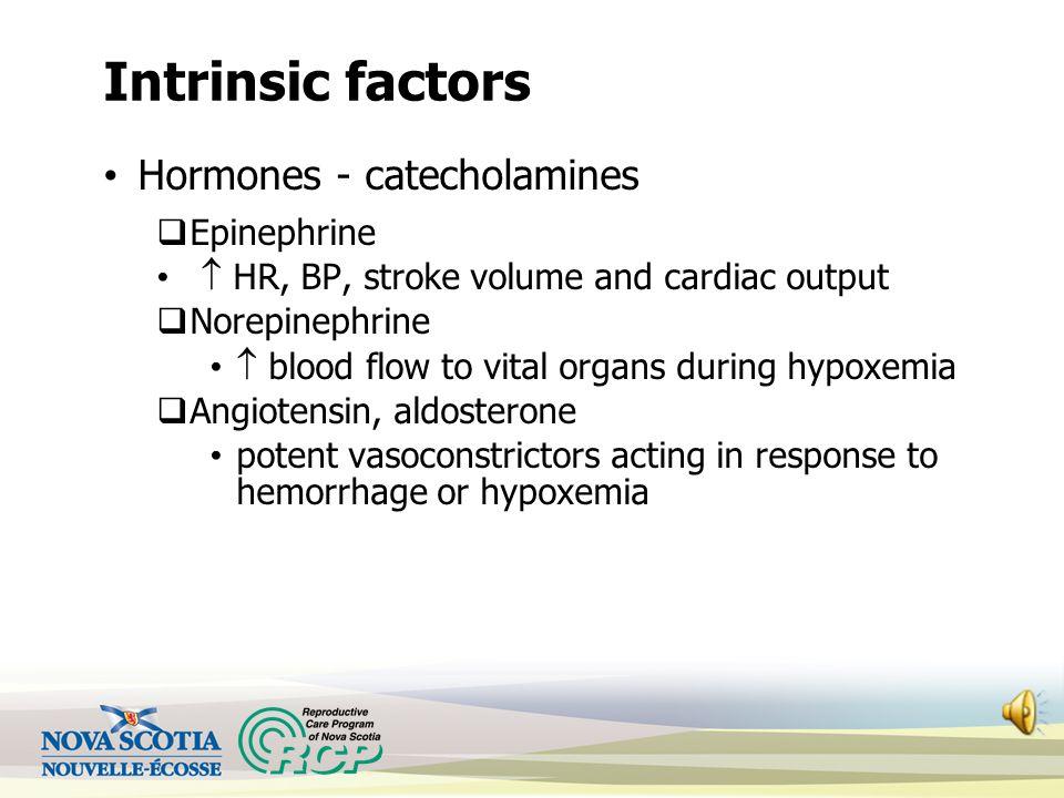 Intrinsic Factors Internal mechanisms of FHR control Central Nervous System  Medulla oblongata – controls HR, BP  Mid-brain to cortex – controls FHR