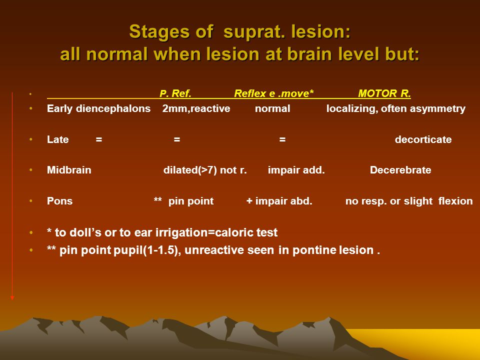 Stages of suprat. lesion: all normal when lesion at brain level but: P.