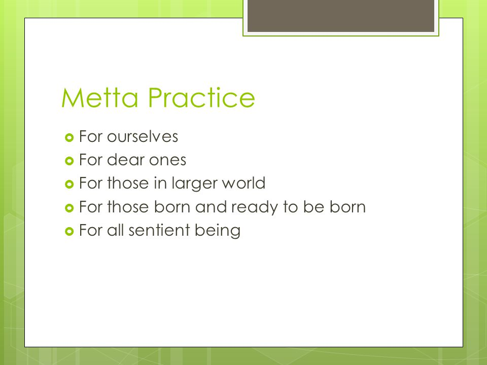 Metta Practice  For ourselves  For dear ones  For those in larger world  For those born and ready to be born  For all sentient being