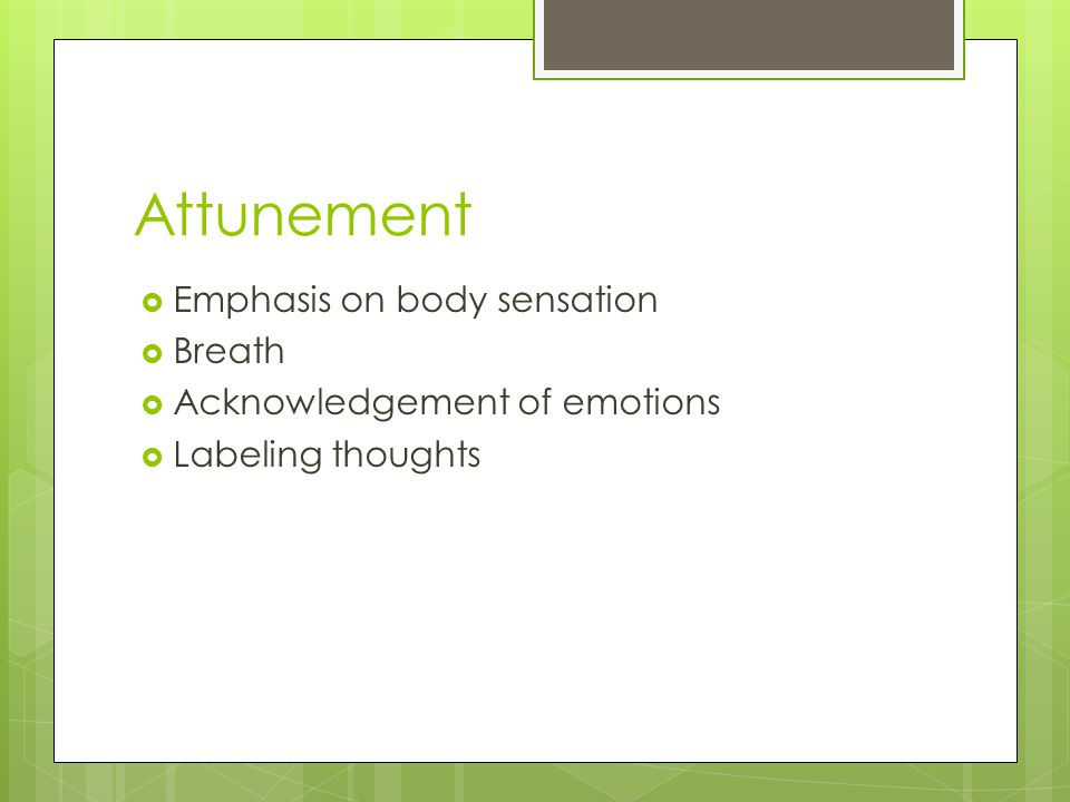Attunement  Emphasis on body sensation  Breath  Acknowledgement of emotions  Labeling thoughts