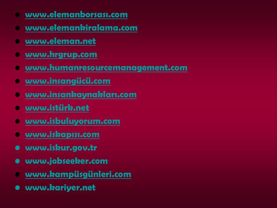 www.elemanborsası.com www.elemankiralama.com www.eleman.net www.hrgrup.com www.humanresourcemanagement.com www.insangücü.com www.insankaynakları.com www.istürk.net www.isbuluyorum.com www.iskapısı.com www.iskur.gov.tr www.jobseeker.com www.kampüsgünleri.com www.kariyer.net