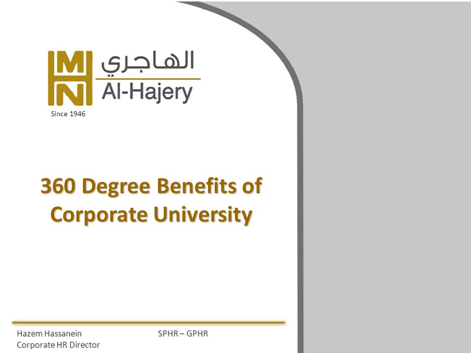 360 Degree Benefits of Corporate University Hazem HassaneinSPHR – GPHR Corporate HR Director Since 1946