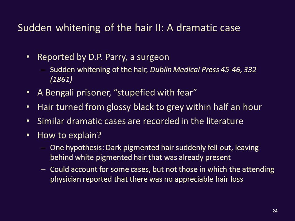 Sudden whitening of the hair II: A dramatic case Reported by D.P.