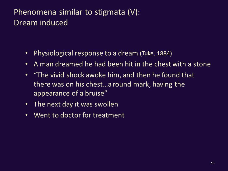 Phenomena similar to stigmata (V): Dream induced Physiological response to a dream (Tuke, 1884) A man dreamed he had been hit in the chest with a stone The vivid shock awoke him, and then he found that there was on his chest…a round mark, having the appearance of a bruise The next day it was swollen Went to doctor for treatment 43