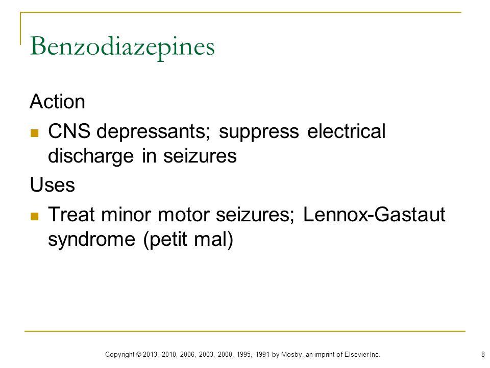 Benzodiazepines End in –lam or –pam Anticonvulsant as well as sedative Valium  diazepam Klonopin  clonazepam Ativan  lorazepam