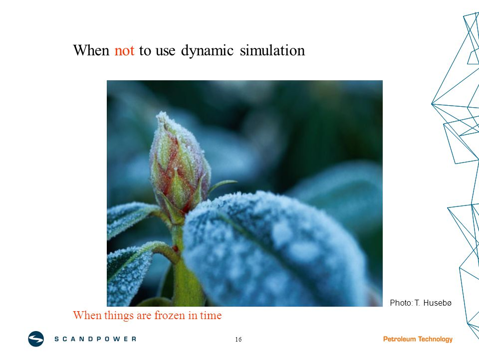 16 When things are frozen in time When not to use dynamic simulation Photo: T. Husebø