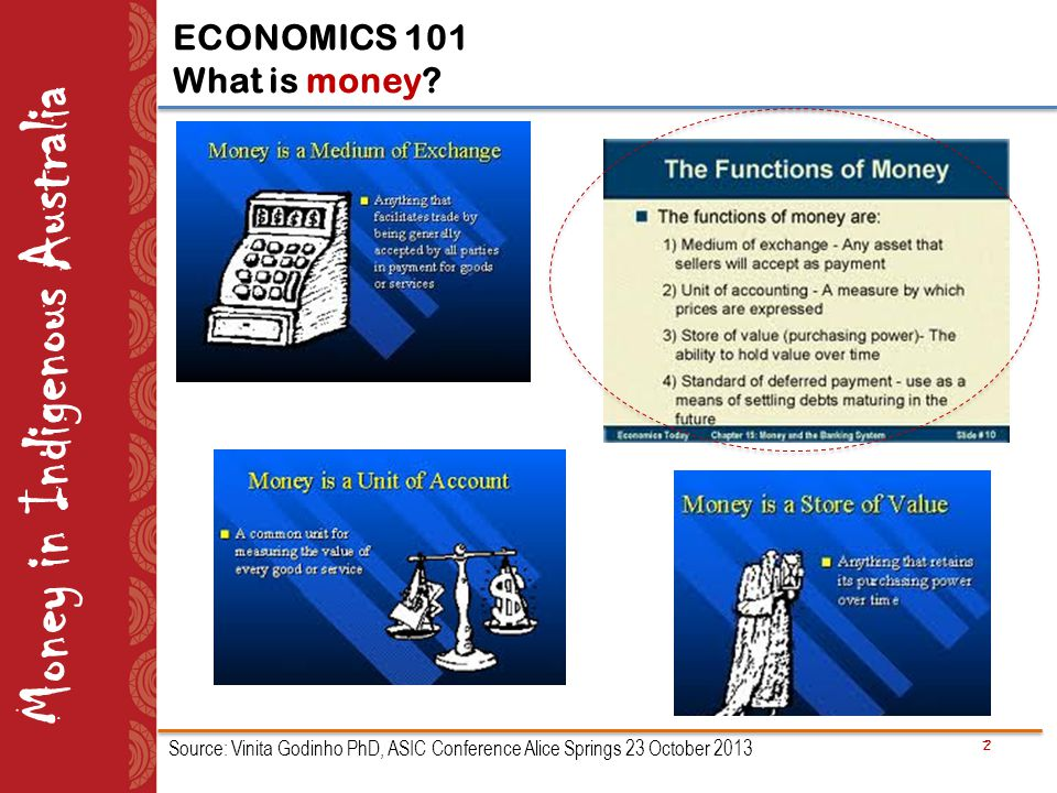 2 Money in Indigenous Australia ECONOMICS 101 What is money? Source: Vinita Godinho PhD, ASIC Conference Alice Springs 23 October 2013