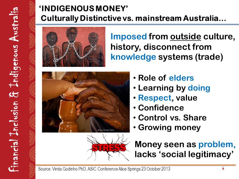 6 Financial Inclusion & Indigenous Australia 'INDIGENOUS MONEY' Culturally Distinctive vs.