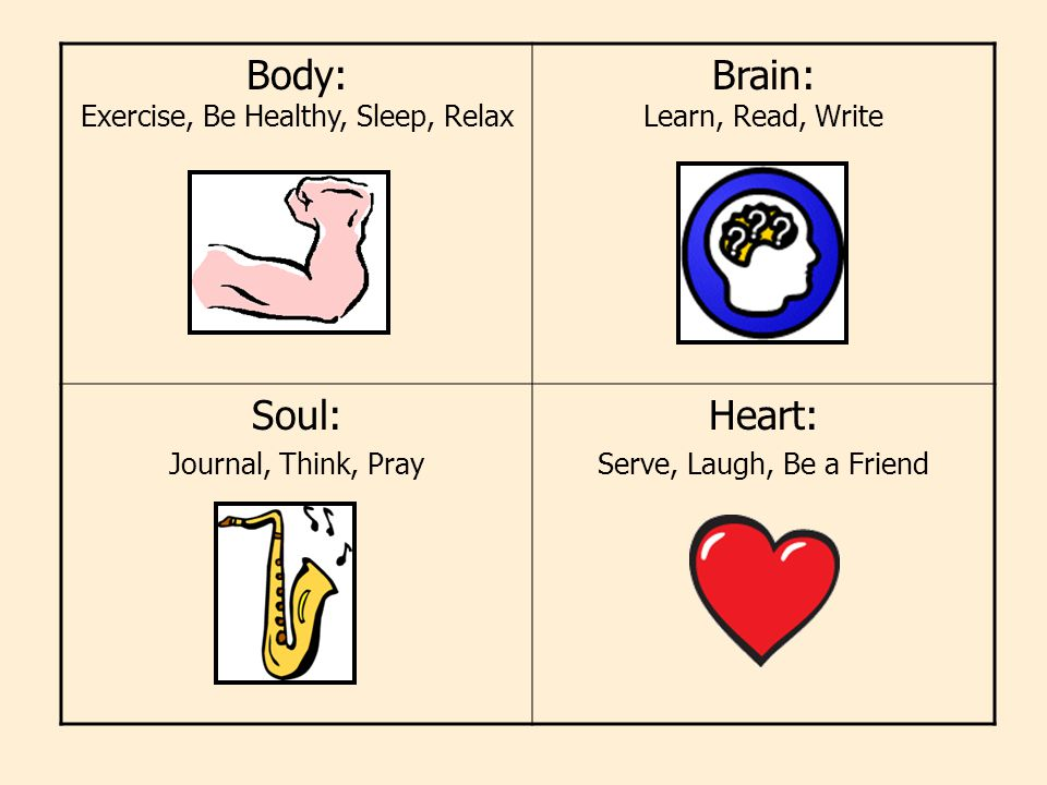 Body: Exercise, Be Healthy, Sleep, Relax Brain: Learn, Read, Write Soul: Journal, Think, Pray Heart: Serve, Laugh, Be a Friend