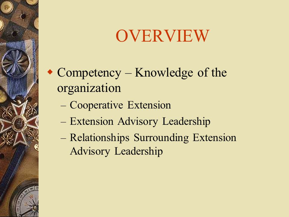 OVERVIEW  Competency – Knowledge of the organization – Cooperative Extension – Extension Advisory Leadership – Relationships Surrounding Extension Advisory Leadership