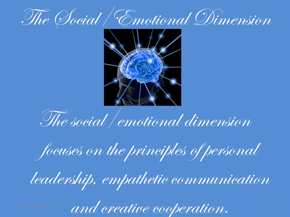 The Social/Emotional Dimension The social/emotional dimension focuses on the principles of personal leadership, empathetic communication and creative cooperation.