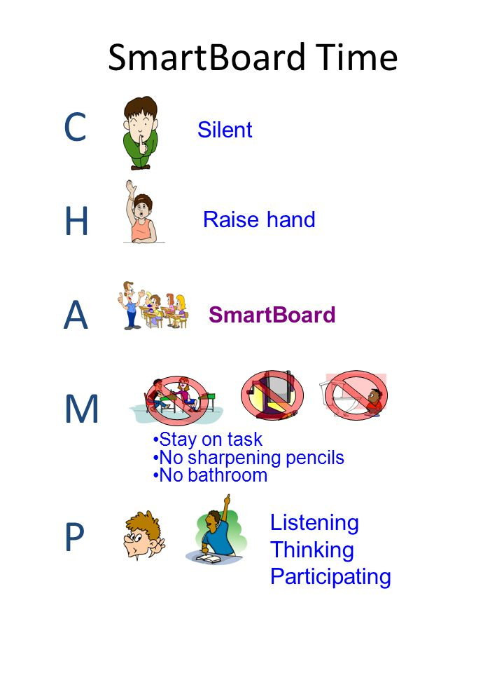 SmartBoard Time CHAMPCHAMP Silent Raise hand SmartBoard Stay on task No sharpening pencils No bathroom Listening Thinking Participating