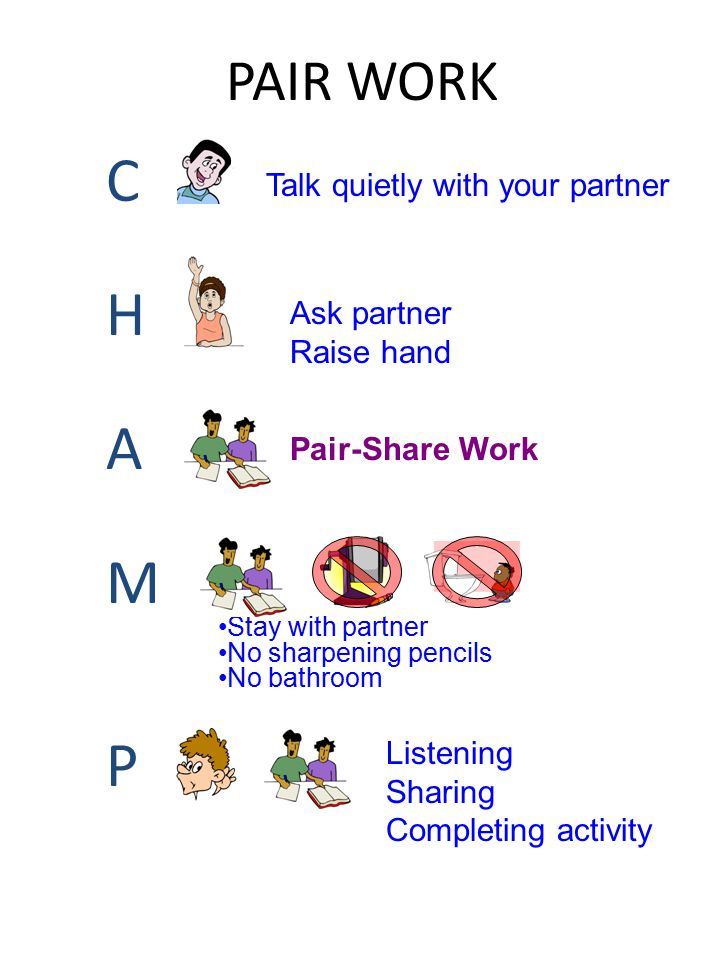 PAIR WORK CHAMPCHAMP Talk quietly with your partner Ask partner Raise hand Pair-Share Work Stay with partner No sharpening pencils No bathroom Listeni