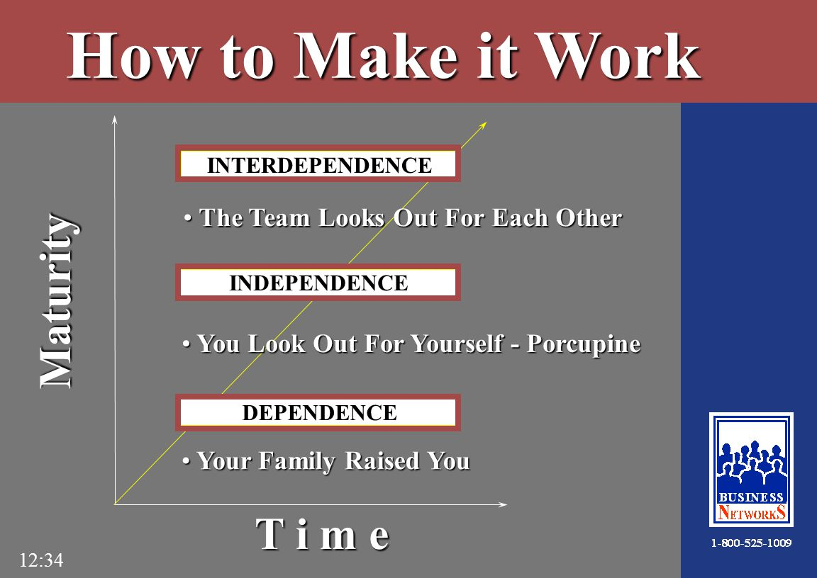 12:34 INTERDEPENDENCE INDEPENDENCE DEPENDENCE Your Family Raised You Your Family Raised You You Look Out For Yourself - Porcupine You Look Out For Yourself - Porcupine The Team Looks Out For Each Other The Team Looks Out For Each Other Maturity T i m e How to Make it Work