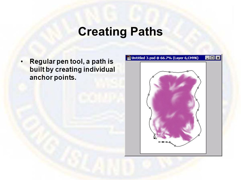 Creating Paths Regular pen tool, a path is built by creating individual anchor points.