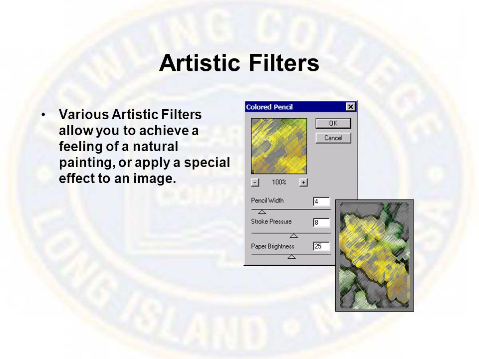 Artistic Filters Various Artistic Filters allow you to achieve a feeling of a natural painting, or apply a special effect to an image.