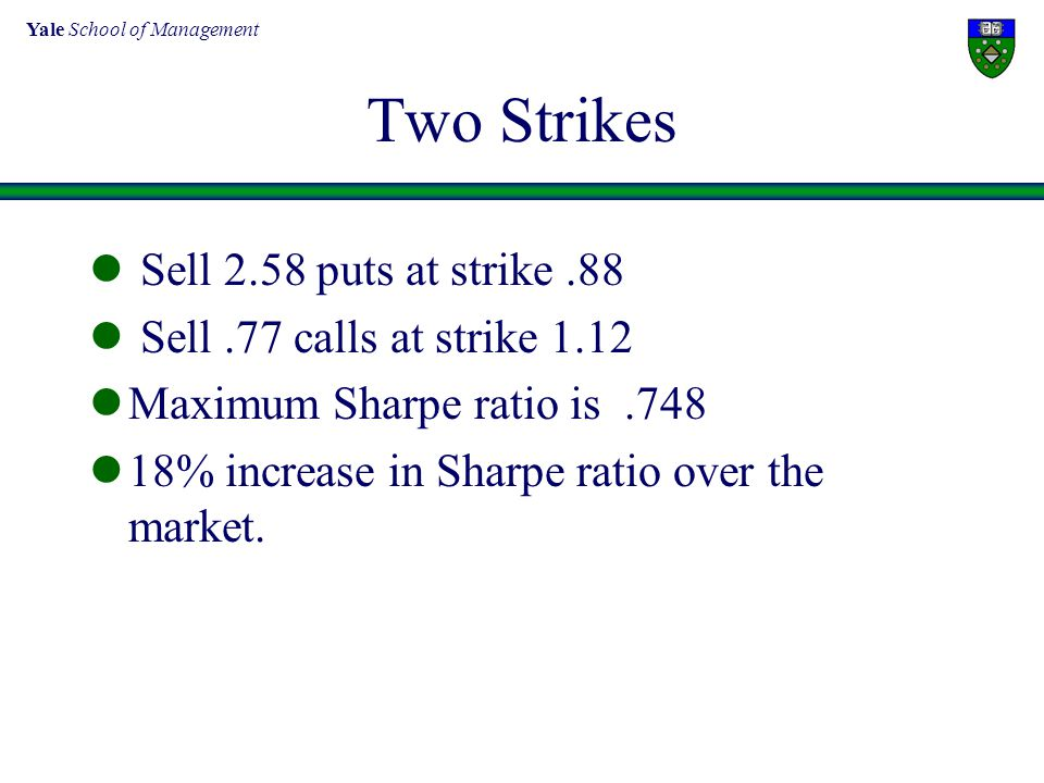 Yale School of Management Two Strikes Sell 2.58 puts at strike.88 Sell.77 calls at strike 1.12 Maximum Sharpe ratio is.748 18% increase in Sharpe rati