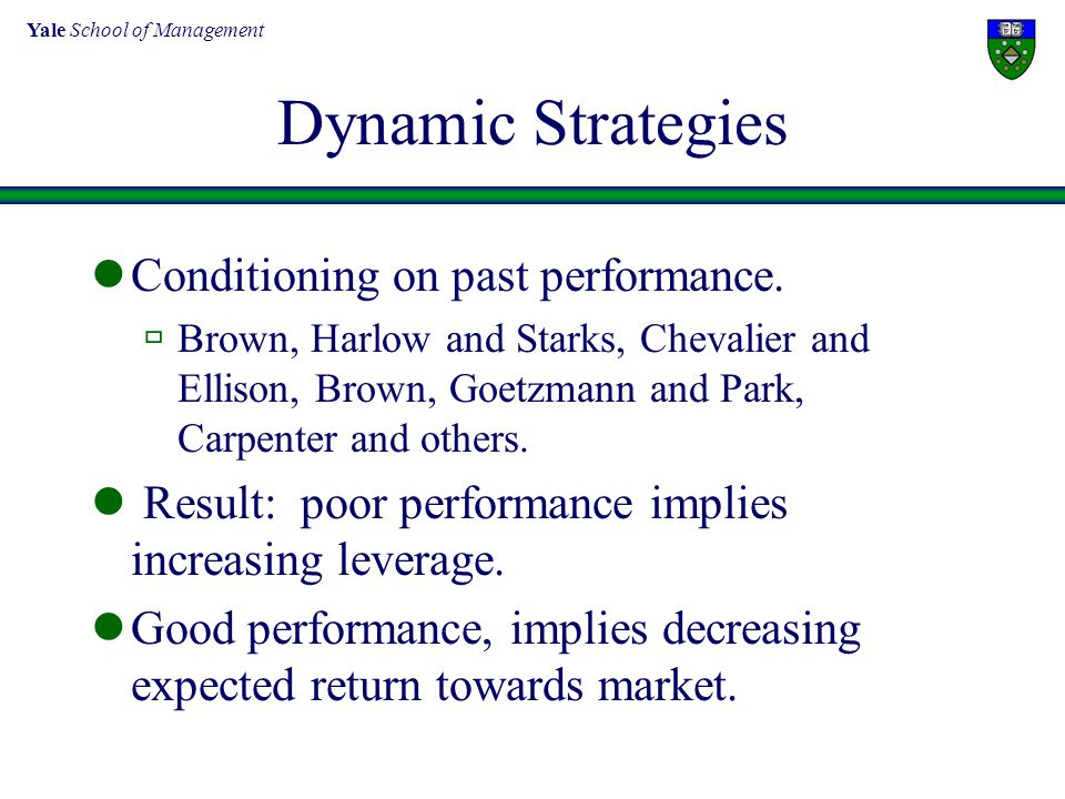 Dynamic Strategies Conditioning on past performance.  Brown, Harlow and Starks, Chevalier and Ellison, Brown, Goetzmann and Park, Carpenter and other