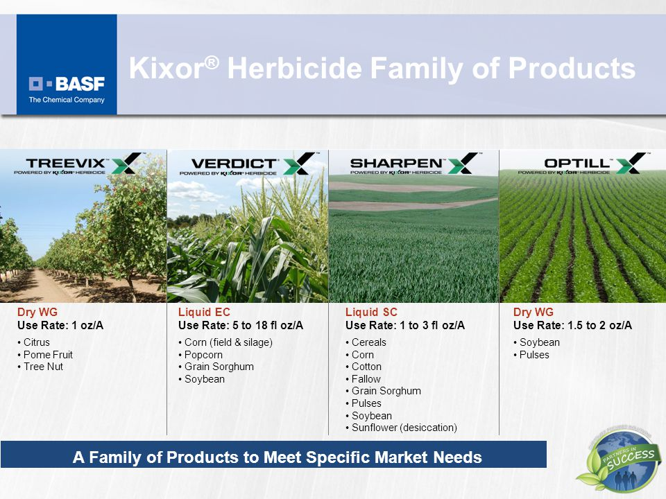 Kixor ® Herbicide Family of Products Liquid EC Use Rate: 5 to 18 fl oz/A Corn (field & silage) Popcorn Grain Sorghum Soybean Dry WG Use Rate: 1 oz/A C