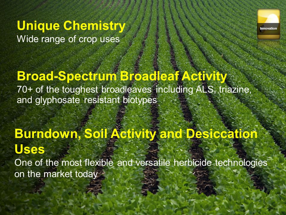 Innovation Unique Chemistry Wide range of crop uses Broad-Spectrum Broadleaf Activity 70+ of the toughest broadleaves including ALS, triazine, and gly
