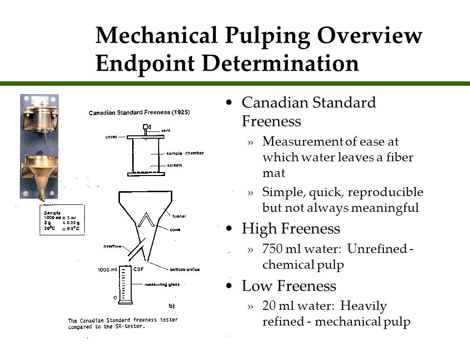 Mechanical Pulping Overview Endpoint Determination Canadian Standard Freeness »Measurement of ease at which water leaves a fiber mat »Simple, quick, r