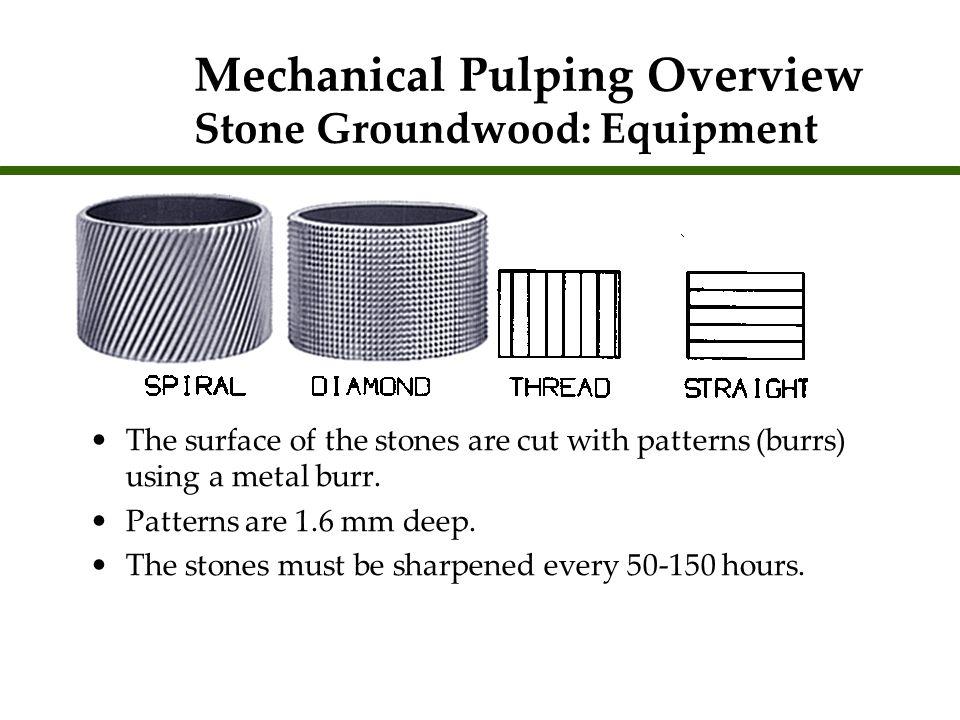 Pulpstone sharpening Sharpening= fracturing the softer bond posts.