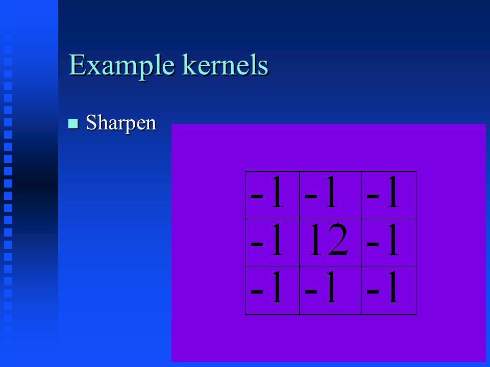 Example kernels Sharpen Sharpen
