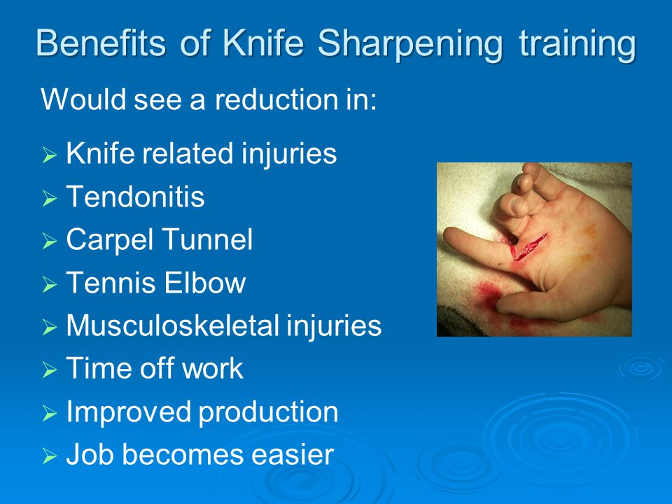 Example   A worker boning forequarters all day would use approx 6400 cutting strokes a day   A sharp knife has a cutting force of 1.1kg per cutting stroke   1.1kg x 6400 strokes = 7.40 tons of daily force   If we multiply 6400 strokes with a 15kg blunt knife, we end up with a daily force of 96 ton   This equates to 88.6 tons more cutting force than a sharp knife