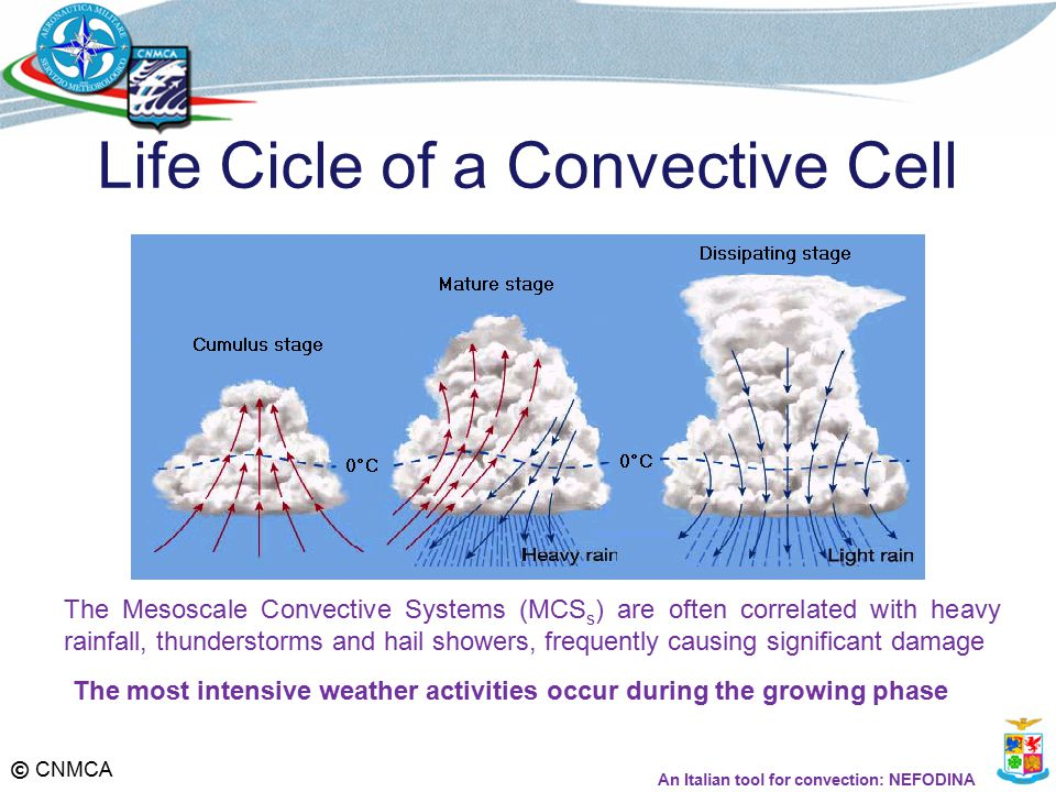 © CNMCA Life Cicle of a Convective Cell The Mesoscale Convective Systems (MCS s ) are often correlated with heavy rainfall, thunderstorms and hail showers, frequently causing significant damage The most intensive weather activities occur during the growing phase An Italian tool for convection: NEFODINA