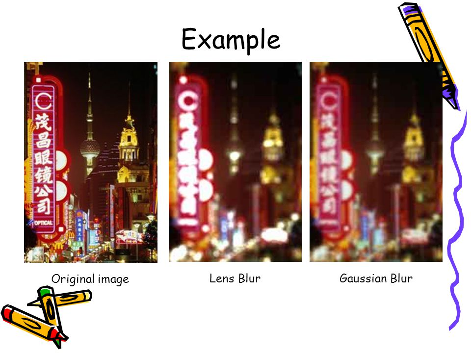 Example Original image Lens BlurGaussian Blur