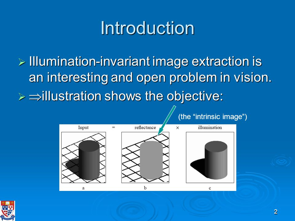 2 Introduction  Illumination-invariant image extraction is an interesting and open problem in vision.