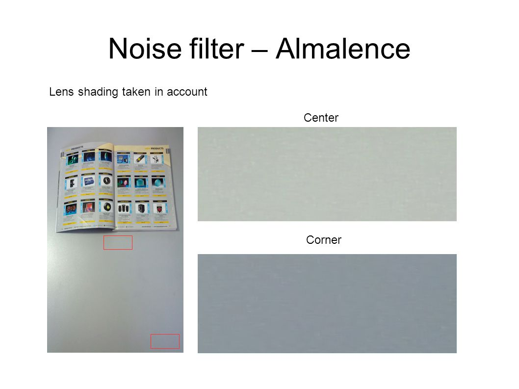 Noise filter – Almalence Easily configured (API accessible from application layer) No filtering High filtering Little filtering