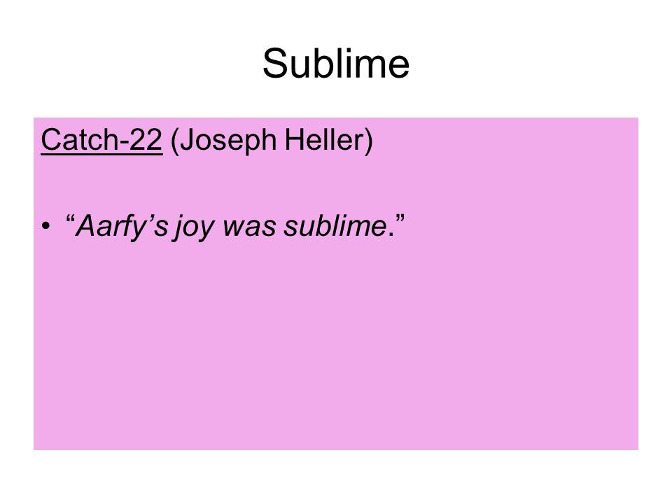 Sublime Catch-22 (Joseph Heller) Aarfy's joy was sublime.