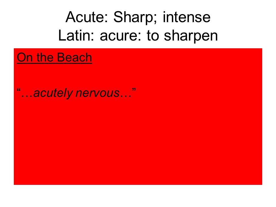 Acute: Sharp; intense Latin: acure: to sharpen On the Beach …acutely nervous…