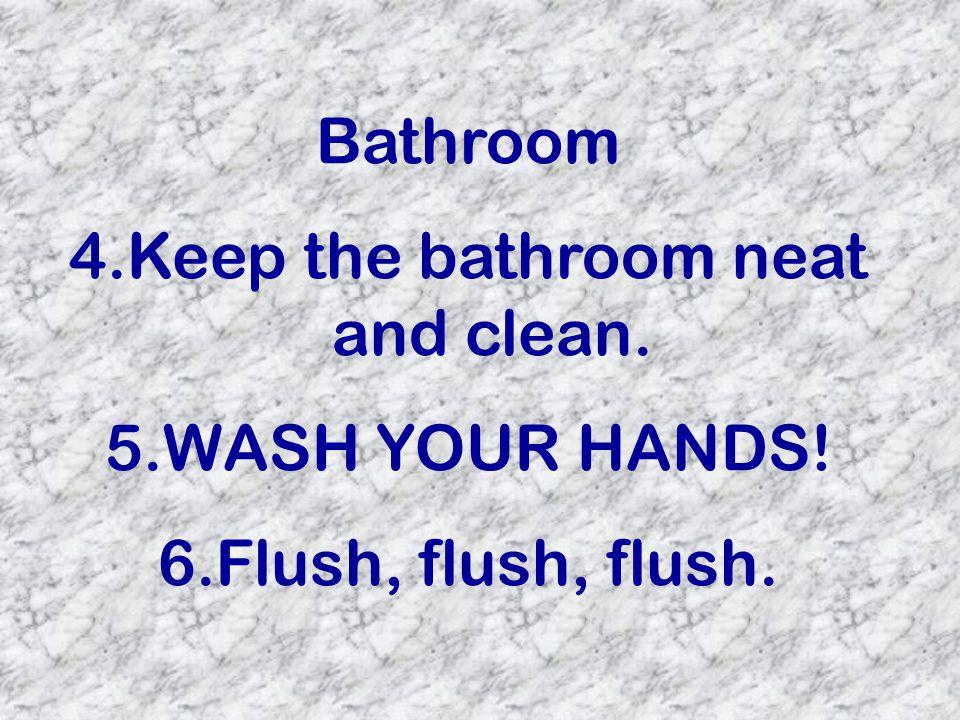 Bathroom 4.Keep the bathroom neat and clean. 5.WASH YOUR HANDS! 6.Flush, flush, flush.