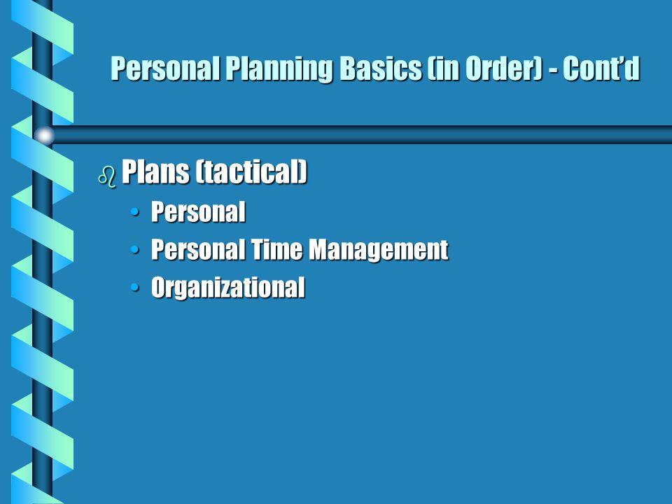 Personal StrategicPlanning Basics (in Priority Order) b Self Assessment b Mission & Vision Personal VisionPersonal Vision Mission Statement (long range-lifetime)Mission Statement (long range-lifetime) b Goals PersonalPersonal OrganizationalOrganizational