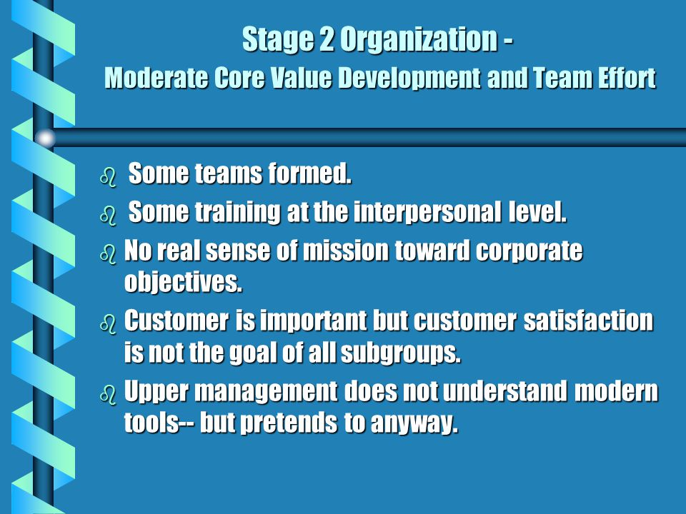Stage 1 Organization - Low Team Focus b No vision, mission or strategic focus. b Organizational goals unclear. b Disorganized with individuals doing w